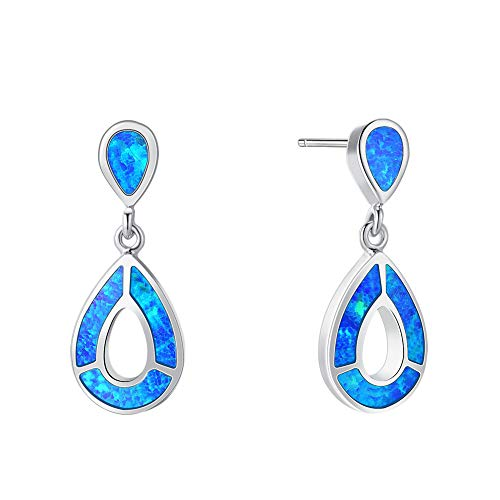 Fancime Aqua Colored Blue Synthetic Opal Dangle Earrings 925 Sterling Silver Dainty Elegant Drop Pendant Jewelry for Mother, Girlfriend