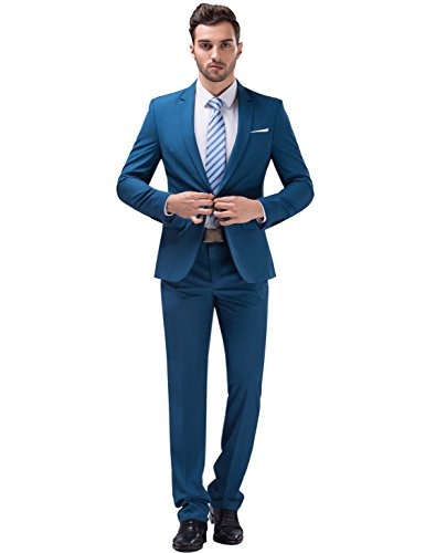 Tsui-Fashion Men's New Work Slim Fit One Button Suits XZ00261BL 36R M best man suit groomsman suits Halloween costume