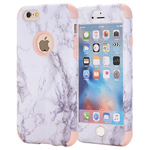 ne 6 Case, AOKER [Marble Design] Slim Dual Layer Anti-Scratch ShockProof Clear Bumper Matte TPU Soft Rubber Silicone Protective Case Fit for Apple iPhone 6/6S 4.7 inch (Rosegold) ()