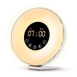 Sunrise Alarm Clock Wake up Light FM Radio Clock Night Light Heavy Sleepers & Kids - 7 Adjustable Colors - Sunrise Sunset Simulation Touch Control
