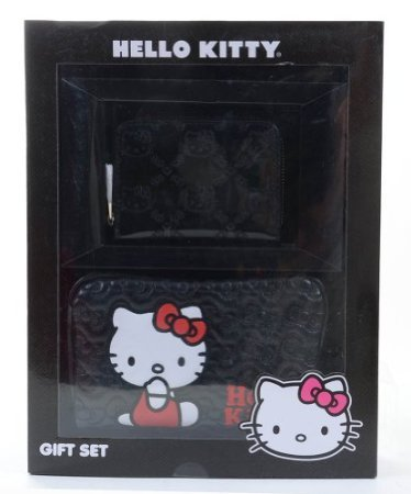 3b13b4b89 Image Unavailable. Image not available for. Color: Hello Kitty Embossed  Black & Pink Wallet ...