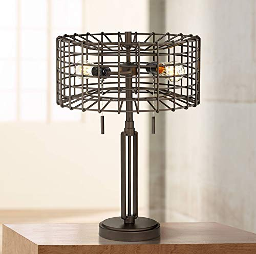 Adam Industrial Accent Table Lamp LED Edison Bulb Deep Bronze Metal Cage Shade for Living Room Family Bedroom - Franklin Iron Works