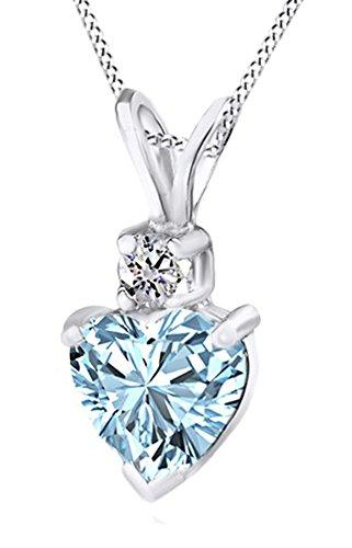 14 Carat White Gold Heart Shape 0.75 Carats Aquamarine Diamond (14k Gold Heart Shape)