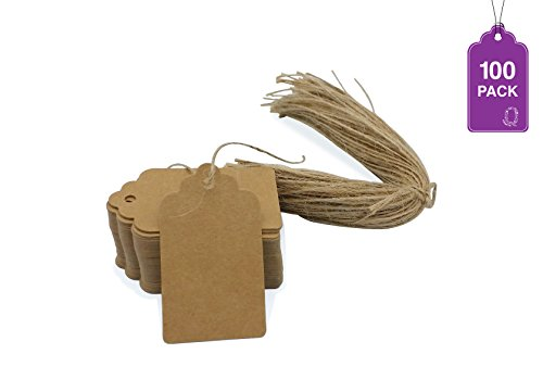 KRAFT Write-on PRICE / GIFT TAGS 100 PCS with 100 strings. Blank Gift Tag - Vintage Wedding Favor Hang Tags & 100 Natural Jute Twine Strings, Rectangle Tags for Crafts & Price Labels. Holiday Tags!