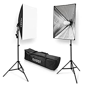 "ESDDI 20""X28"" Soft Box Photography Lighting Kit 800W Continuous Lighting System Photo Studio Equipment Photo Model Portraits Shooting Box 2pcs E27 Video Lighting Bulb"