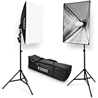 ESDDI 20X28 Soft Box Photography Lighting Kit 800W Continuous Lighting System Photo Studio Equipment Photo Model Portraits Shooting Box 2pcs E27 Video Lighting Bulb