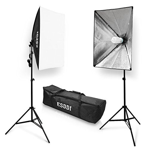 ESDDI 20″X28″ Softbox Photography Lighting Kit 800W Continuous Lighting System Photo Studio Equipment Photo Model Portraits Shooting Box 2pcs E27 Video Lighting Bulb