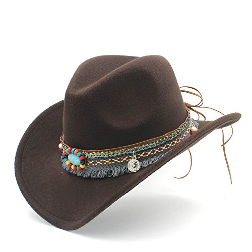 Womens Fashion Western Cowboy Hat For Lady Tassel Felt Cowgirl Sombrero Caps Hats, by jdon-hats, (Color : Coffee, Size : 56-58cm) ()