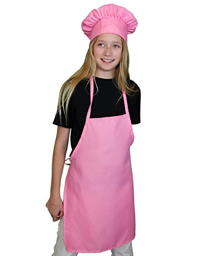 Kids Apron and Chef Hat Set. Adjustable Hat. Fits Childs Size Medium 6-12. (Lt. (Chef Pink)