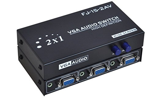 C-Zone 2 Port VGA Audio Video Switch 2x1 SVGA Switcher Box 2 IN 1 OUT PC Monitor LCD TFT Sharing by C-Zone