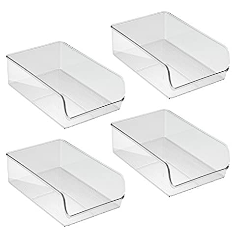 InterDesign Linus Kitchen, Pantry, Refrigerator, Freezer Storage Container, Large, 4 Pack, Clear