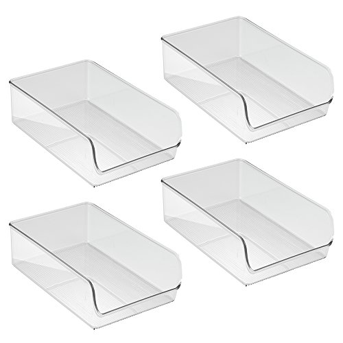 InterDesign Linus Kitchen, Pantry, Refrigerator, Freezer Storage Container, Large, 4 Pack, Clear by InterDesign