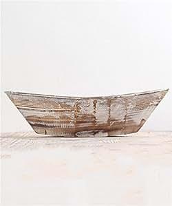 XYZ Francés pueblo creativo vintage barco de madera de flores, ollas de madera, artesanía de madera, titular de la planta Delicado duradero ( Tamaño : 47*12.5cm )