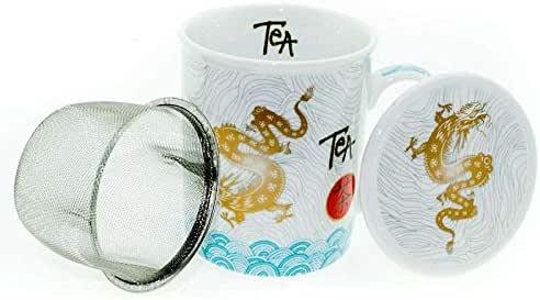 Aromas de Té - Tisanera Dragon Tea - Taza de Té con Filtro y Tapa ...