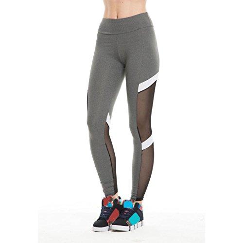 Pantaloni sottili Yoga da donna alti Vovotrade Calzamaglia sexy della maglia delle ghette di sport di forma fisica (L, Grigio)