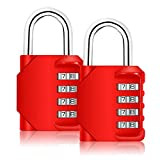Combination Lock, Blingco 4 Digit Combination Padlock for Gym & Sports Locker, School, Employee, Fence, Case, Toolbox, Hasp Cabinet & Storage - 2 Pack & Red