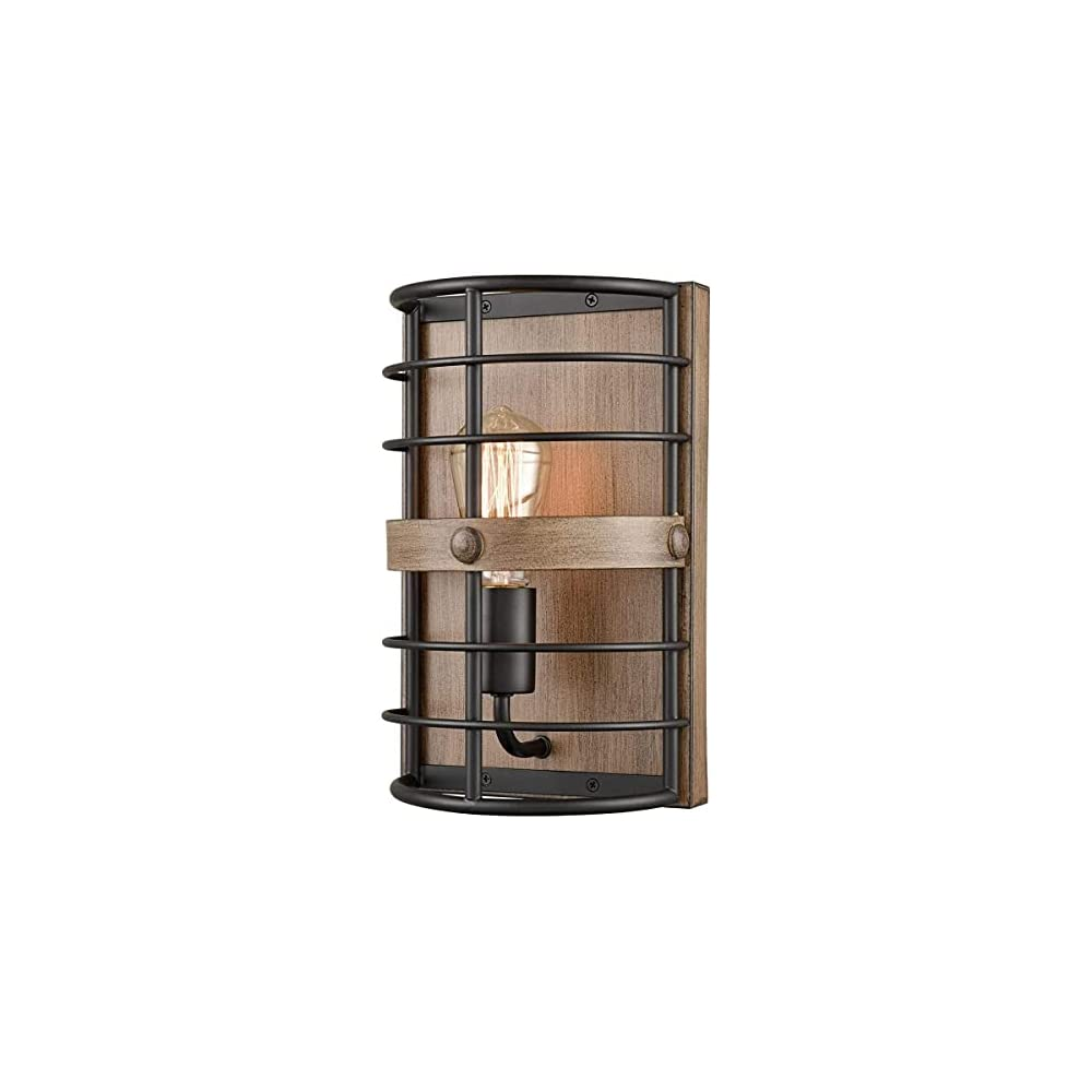 HYDELITE Farmhouse Metal Wall Sconce | Black Metal Cage with Wood Grain Canopy | 1-Light Cage | Corridor, Bedroom Wall…