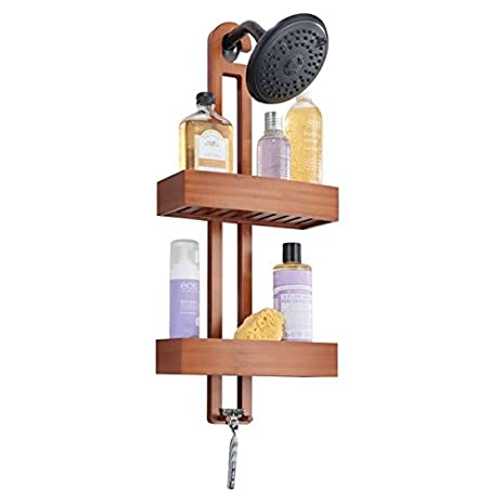 MDesign Bathroom Shower Caddy With Storage Baskets And Hooks For Shampoo,  Sponges, Razors,