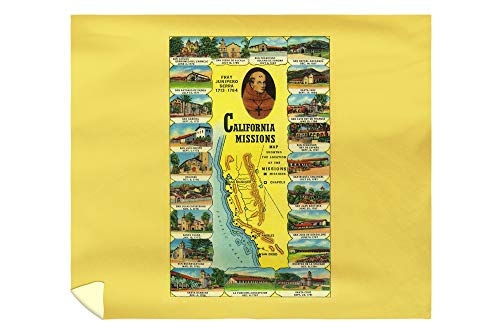 Lantern Press Spanish Missions of California Showing 21 Missions - Vintage Halftone 1948 (88x104 King Microfiber Duvet Cover)