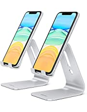 [2 Pack] OMOTON Cell Phone Stand, Upgraded Aluminum Cell Phone Holder Phone Cradle with Protective Pads for iPhone 11 Pro Max, 11 XR XS 8 Plus SE , iPad Mini and Android Phones, (Black + Black)
