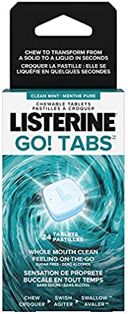 Listerine GO! Tabs Chewable Clean Mint Tablets, Fights Bad Breath On The Go, Leaves Whole Mouth Feeling Clean