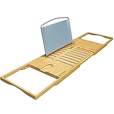 Bath Dreams Luxury Bamboo Bathtub Caddy Tray  with Extending Sides