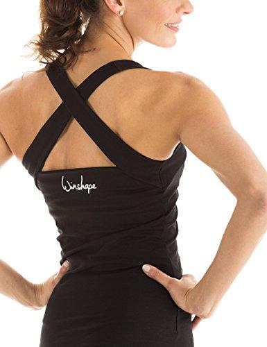 Winshape WVR25 - Camiseta deportiva para mujer (diseño de espalda cruzada) negro - negro