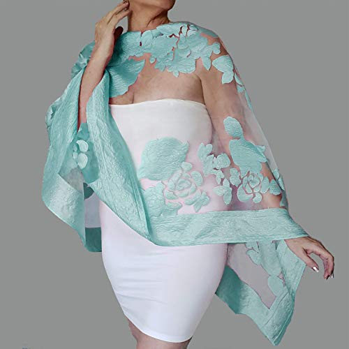 White Shawl Blue Wedding Wrap Mother Of The Bride Stole By ZiiCi