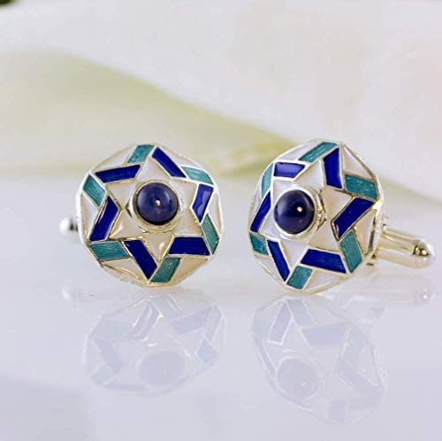 Star of David Cuff-Links Blue on White Enamel with Lab-Created Blue Star Sapphire Judaica Jewelry for Men 925 Sterling Silver Large Cufflinks Bar Mitzvah Gift