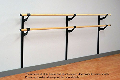 Vita Vibe Ballet Barre - WD384-A-W Traditional Wood 32ft. Double Bar Adjustable Height Wall Mount Ballet Bar - Stretch/Dance Bar - Vita Vibe - USA Made