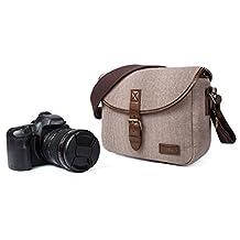 Camera Insert Bag,Canvas Retro Men Shoulder Messenger Bag Fit DSLR SLR with 1 Lens Mirrorless Camera with 2 Lens Khaki