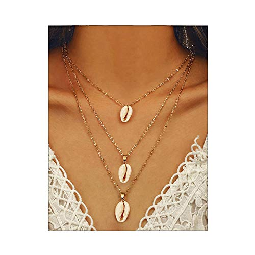 CEALXHENY Bohemian Sea Shell Pendant Chokers Necklaces Multi Layer Conch Necklace Collar for Women Beach Jewelry Accessories (D White Shell)
