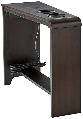 Ashley Furniture Signature Design - Carlyle Chairside End Table - Rectangular with 2 USB Ports - Contemporary - Almost Black (Mission Oak Server)