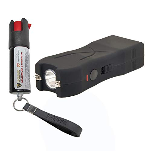Pocket Taser Pepper Spray Kit (1) High Volt Amp Mini Stun Gun Flashlight (1) Police Strength Pocket Keychain 1/2 oz Tear Gas Best Self Defense Weapons For Women or Men Taser Color (Black) (Best Self Defense Weapons For Female)