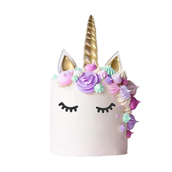 Unicorn Cake Topper with Eyelashes | Handmade Unicorn Cake Decorations, Gold Unicorn Horn, Ears, 2 Sets of Unicorn… 5