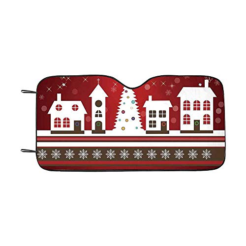 Christmas Decorations Durable Car Sunshade,Winter Holidays Theme Gingerbread House Tree Lights and Snowflakes Art for car,55
