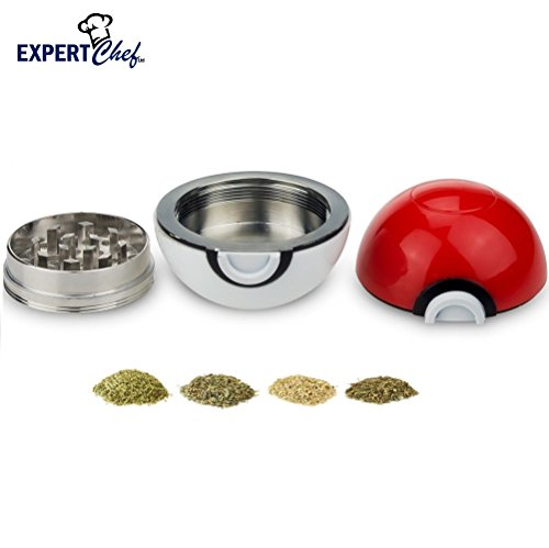 Top Rated Pokeball Spice & Herb Grinder with Pollen Catcher - 3 Piece 40MM by Expert Chef (Best Way To Conserve Weed And Still Get High)