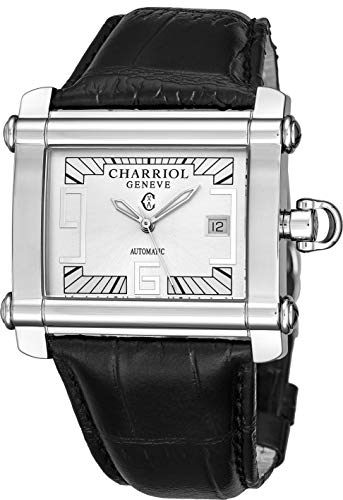 (Charriol Actor Rectangular Mens Automatic Watch - Silver Face with Luminous Hands, Date and Sapphire Crystal - Stainless Steel Black Leather Band Swiss Made Rectangle Watch CCHAXL.361.HAX002 )