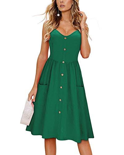 KILIG Women's Summer Dress Spaghetti Strap Button Down Sundress with Pockets(Green,M)