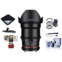Rokinon 35mm T1.5 Cine VDSLR Wide-Angle Lens for Micro Four Thirds - Bundle With 77mm Filter Kit, Cleaning Kit, Lens Wrap, Lenspen Cleaner, Capleash II, MAC Software Package
