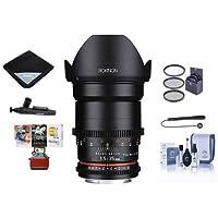Rokinon 35mm T1.5 Cine VDSLR Wide-Angle Lens for Nikon F Mount, Hybrid Aspherical Lens Element - Bundle with 77mm Filter Kit, Cleaning Kit, Lens Wrap, Lenspen Cleaner, Capleash II, Mac Software Pack