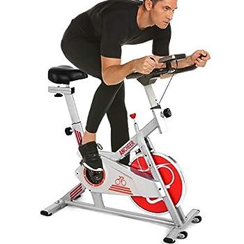 Image of ANCHEER Indoor Cycling Bike, Belt Smooth Quiet Drive Indoor Exercise Bike with Adjustable Seat & Handlebars & Base for Indoor/Garden/Workout Cardio Exercise Bikes