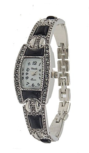 New Vintage Style Marcasite with Black Onyx Bracelet Watch - New Ladies Marcasite Style Watch