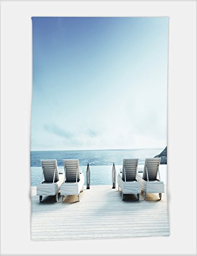 Minicoso Bath Towel beach lounge sundeck on sea view for vacation and summer d render 373651459 For Spa Beach Pool Bath