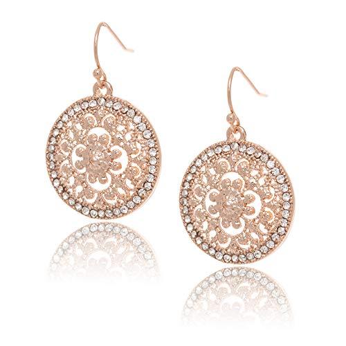 CHARISMA Ladies rose goldplated round filigree& crystaldrop earring