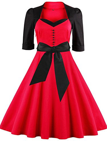 Vintage 1940s Audrey Hepburn Dresses Retro Costume with Sleeves,Red Black,S