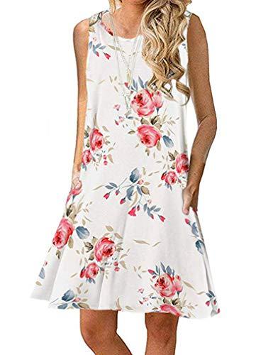 Sherosa Women's Summer Sundress Floral Print Swing Dress with Pockets (S, White)