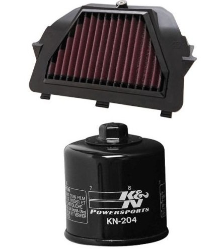 K&N Motorcycle Race Air Filter + Oil Filter 2008-2015 Yamaha YZF R6 / YA-6008R + KN-204
