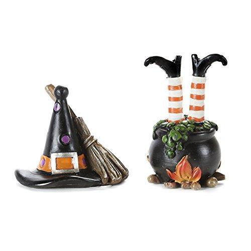 Darice Halloween Decor - Resin Mini Fairy Witch Hat Cauldron 2pc Set (Hat Factory Halloween)