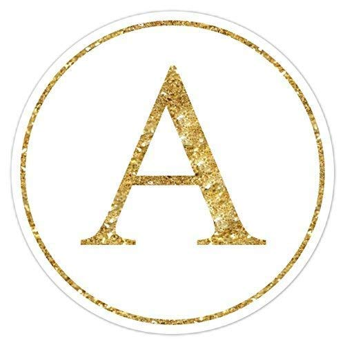 (60 Gold Glitter Monogram Stickers, Glitter Print (not real glitter) Labels, Gold Monogram, Wedding Stickers, Envelope Seals, Monogram Labels - 2 inch round or 2.5 inch round)